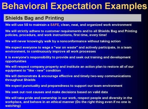 Culture change behavioral expectations