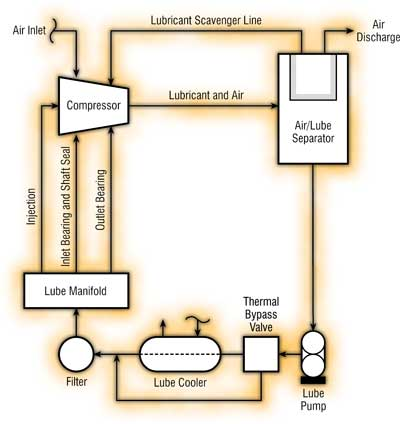 Lubricant Flow in a Rotary Screw Compressor