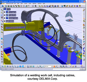 Simulation of a welding work cell, including cables, courtesy DELMIA Corp.