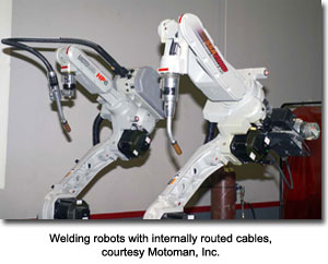 Welding robots with internally routed cables, courtesy Motoman, Inc.