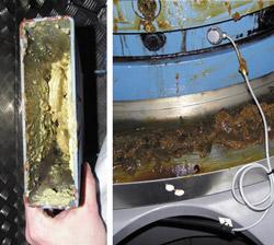 润滑脂被排放到捕集盘(左),外表面(右)_轴承润滑脂