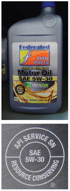 Motor oil bottle and API service mark