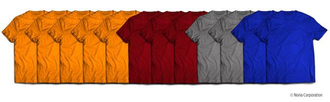 colored shirts showing leveling by type