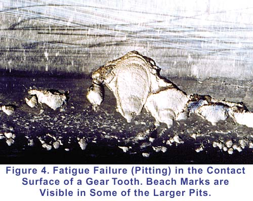 Fatigue (pitting) in the contact surface of a gear tooth. Beach marks are visible in some of the larger parts.