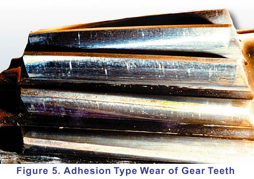 Adhesion type wear of gear tooth.