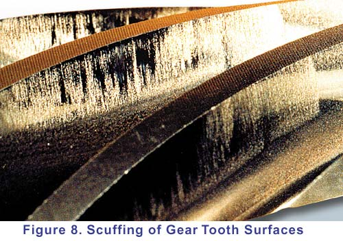 Scuffing of gear tooth surfaces.