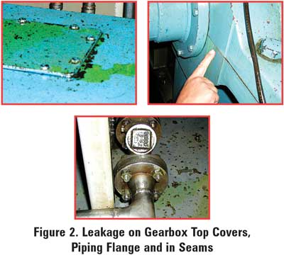 Leakage on Gearbox Top Covers Piping Flange and in Seams