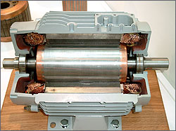 Photo of the inside of an AC motor assembly showing a rotor that is manufactured with copper.