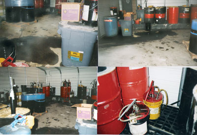 These photos show the Temple-Inland lube room before changes were made.