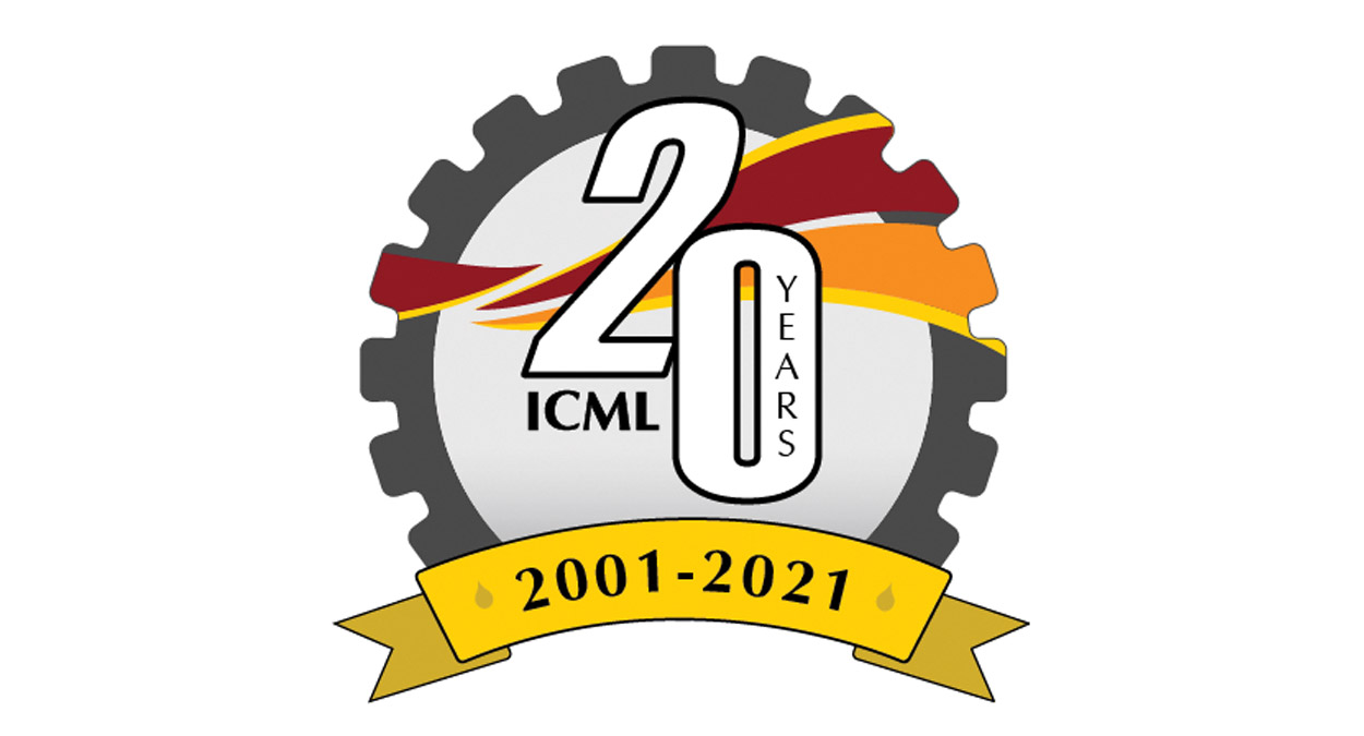 """A simple illustration of a gear. On the gear appears the number 20. Inside the zero of the twenty is the word """"years"""" and below the two of the twenty the letters ICML appear. A banner appears at the bottom of the gear. The banner reads 2001-2021."""