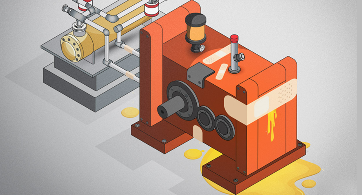 A cartoon-like illustration of some sort of industrial machine. The machine is orange. At the base of the machine is a puddle of yellow oil. This same oil is also seeping from the side of the machine. A large bandage is on the machine, covering the spot from which oil is leaking.