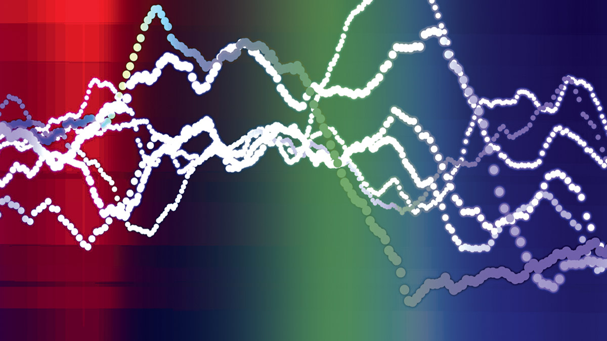Blurred simple background: red transitioning to green, transitioning to violet. Several dotted lines crisscross the image, reminiscent of a line graph.