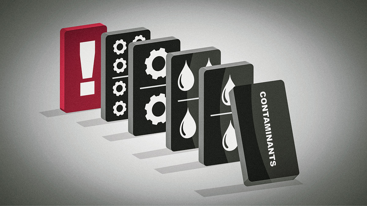"""Six dominoes are standing in a row. All the dominoes are black except for the rear domino, which is red and features a large exclamation point. The frontmost domino is labeled """"Contaminants"""" and is beginning to fall, threatening to knock down the other dominoes. The four middle dominoes feature simple symbols of water droplets and gears."""